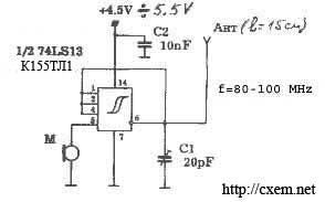 Схема жучка (подслушивающего устройства) на микросхеме