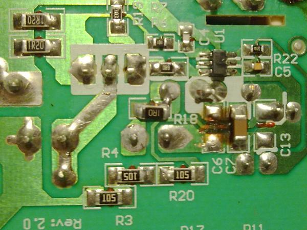 Замена резистора и нанесение лака