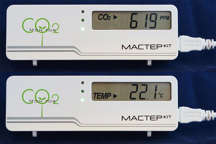 Отображение СО2 и температуры