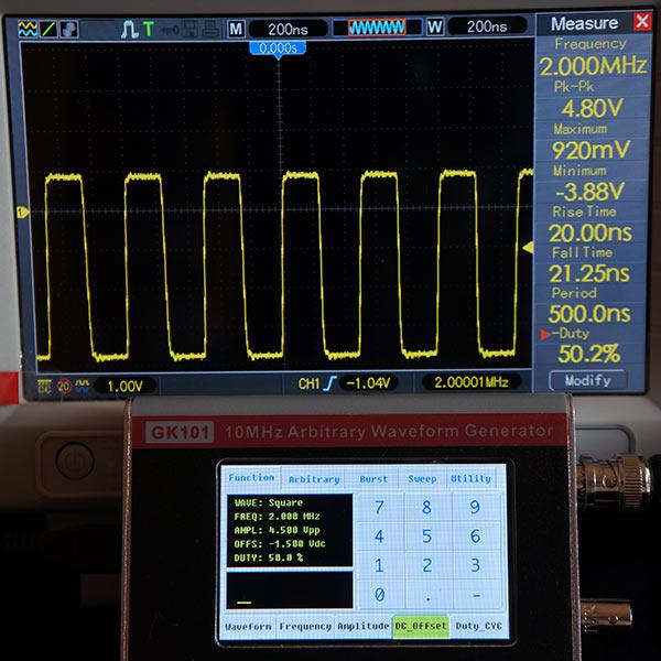 Симметричный прямоугольный сигнал 2МГц, 4.5В, смещение -1.5В