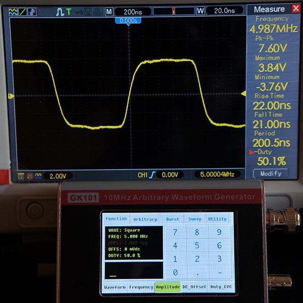 Симметричный прямоугольный сигнал 5МГц, 7В