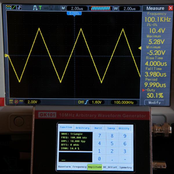 Симметричный треугольный сигнал 100кГц, 10В