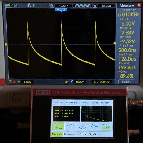 Убывание по экспоненциальному закону 5.010 кГц, 5В