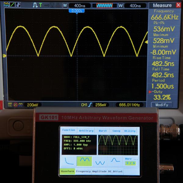 Синусоида 2 полуволны (положительная), 333 кГц, 1В
