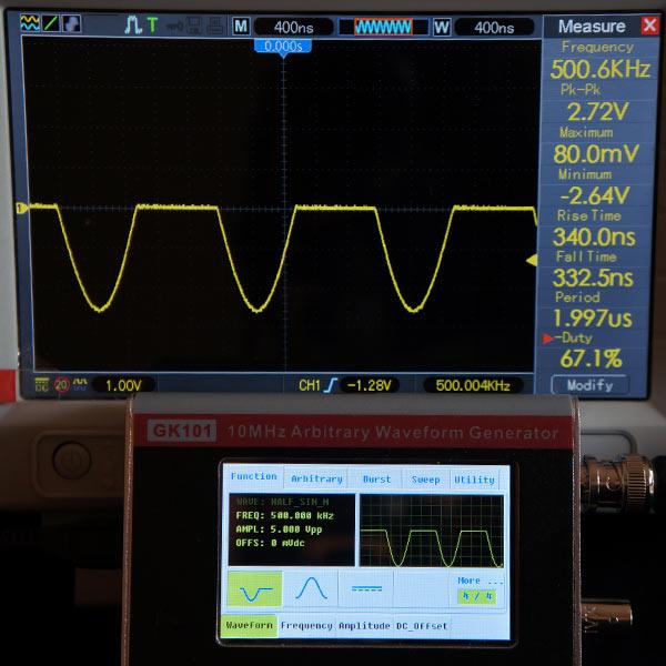 Синусоида отрицательная полуволна, 500 кГц, 5В