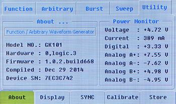 Версия прошивки и информация параметров питания (Power Monitor)