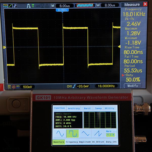 Прямоугольный сигнал 18кГц, 2В, симметричный