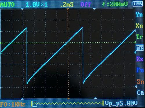 Пилообразный сигнал 1 кГц. Размах сигнала 5 В