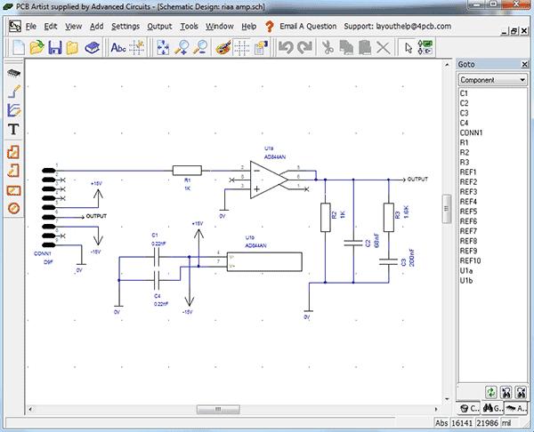 Рабочее окно программы - редактор схем PCB Artist