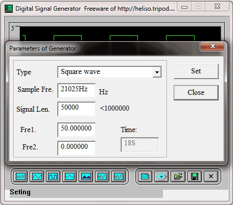 Программа Digital Signal Generator. Настройки