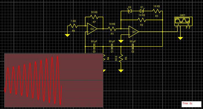 включении симуляции схемы