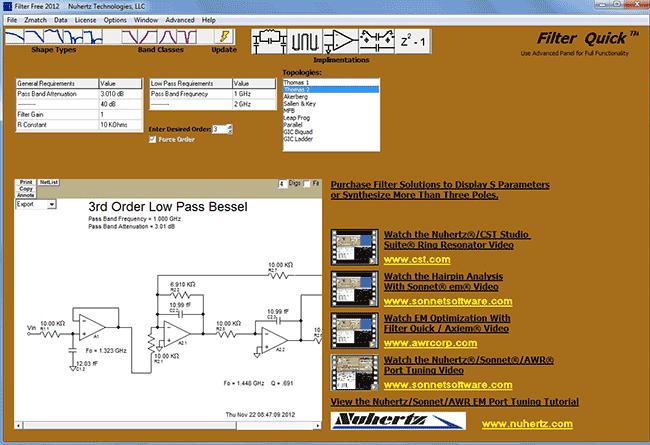 Рабочее окно программы Filter Solutions