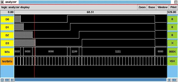 Графический экран программы IRSIM