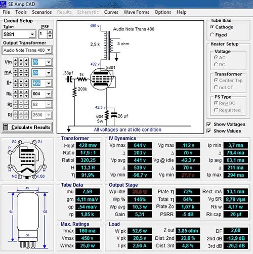 SE AmpCAD продукт фирмы GLASS-WARE предназначена для моделирования и расчета однотактных ламповых усилителей мощности...
