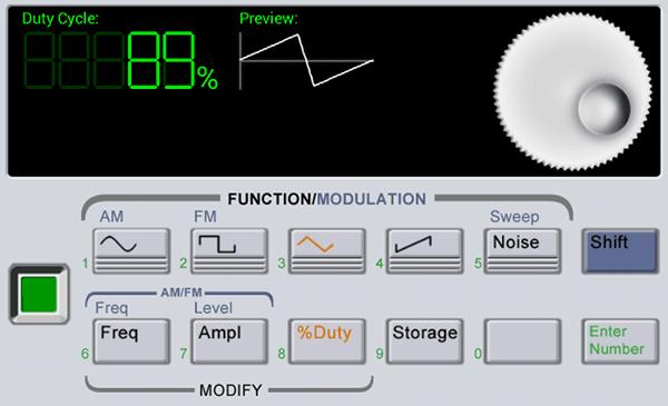 Waveform Generator - задание скважности для треугольного сигнала