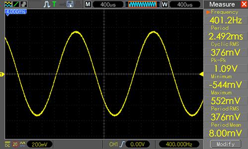 Waveform Generator - синусоида 400 Гц