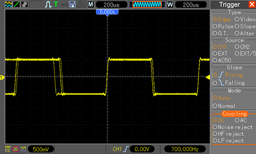 Waveform Generator - прямоугольный сигнал 700 Гц