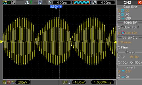 Waveform Generator - АМ-сигнал (частота модуляции 20 Гц, индекс модуляции 950%)