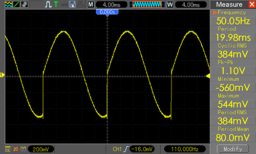 Waveform Generator - синусоида 40 Гц