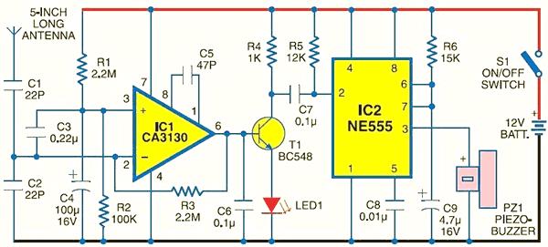 Схема детектора мобильного