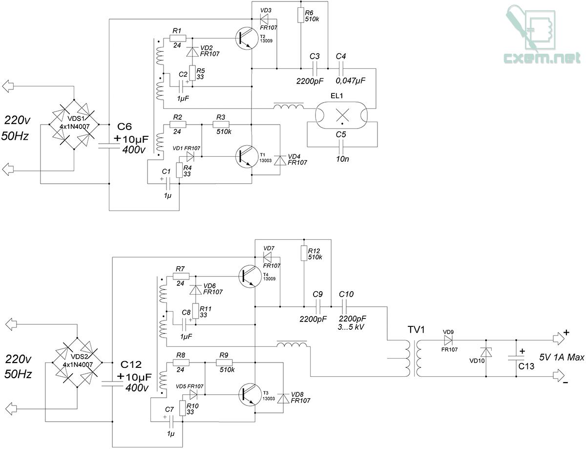 схема зу для сотового телефона от 12