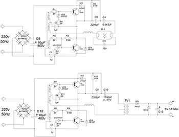 схема импульсного зарядного устройства для телефонов