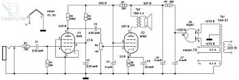 Схема лампового гитарного усилителя на лампах 6Ж8 и 6П6С