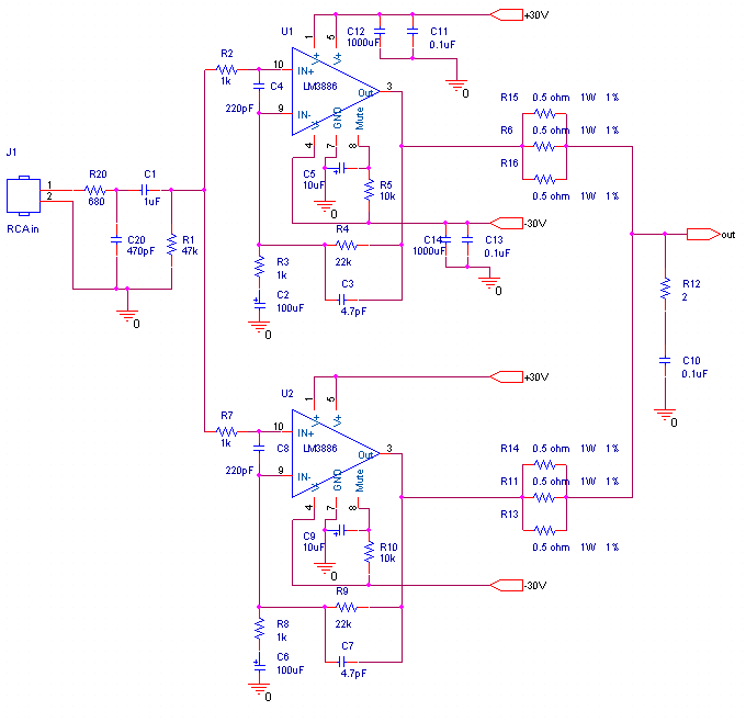 100W LM3886 Power Amplifier.