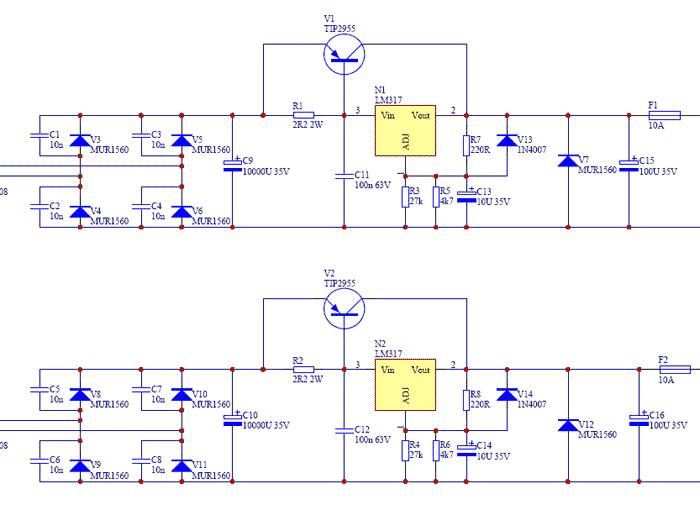 Стабилизатор с использованием TIP2955
