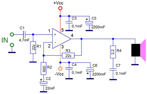 Схема усилителя TDA2030