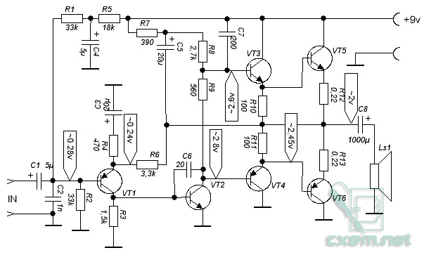 схемы усилителей на транзисторах - Схемы.