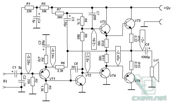 Схема усилителя звука на