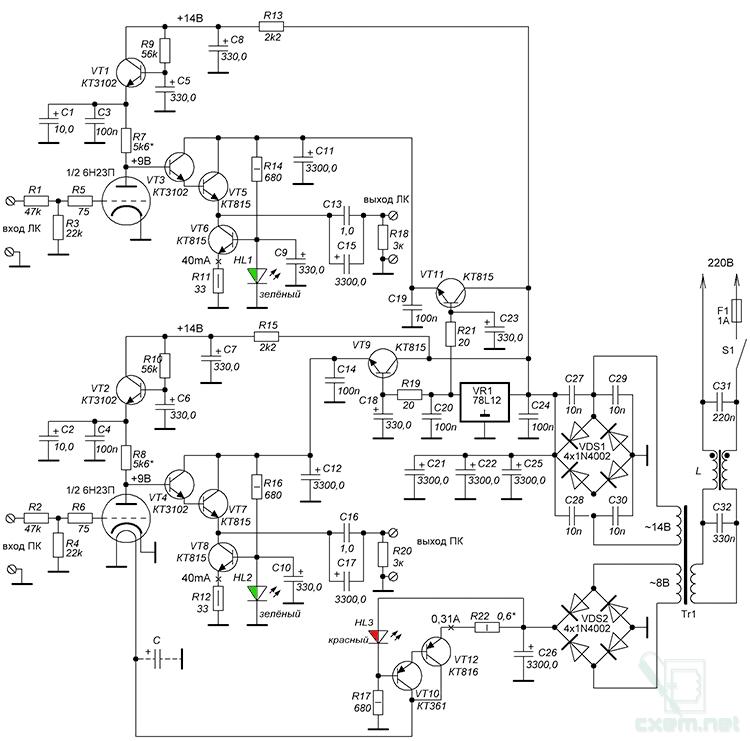 Рис.2 Схема лампово-транзисторного усилителя.