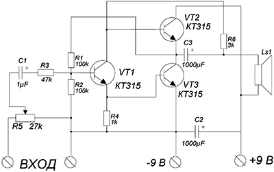 Схема УНЧ на маломощных транзисторах