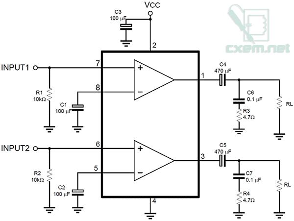 tda2822 схема - Практическая схемотехника.