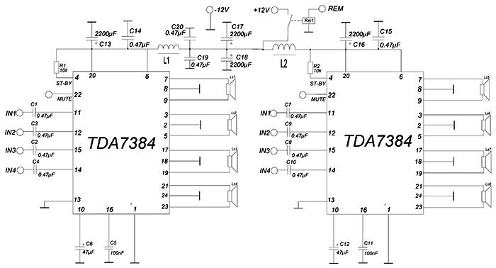 TDA 7384 для, фронтальной АС.