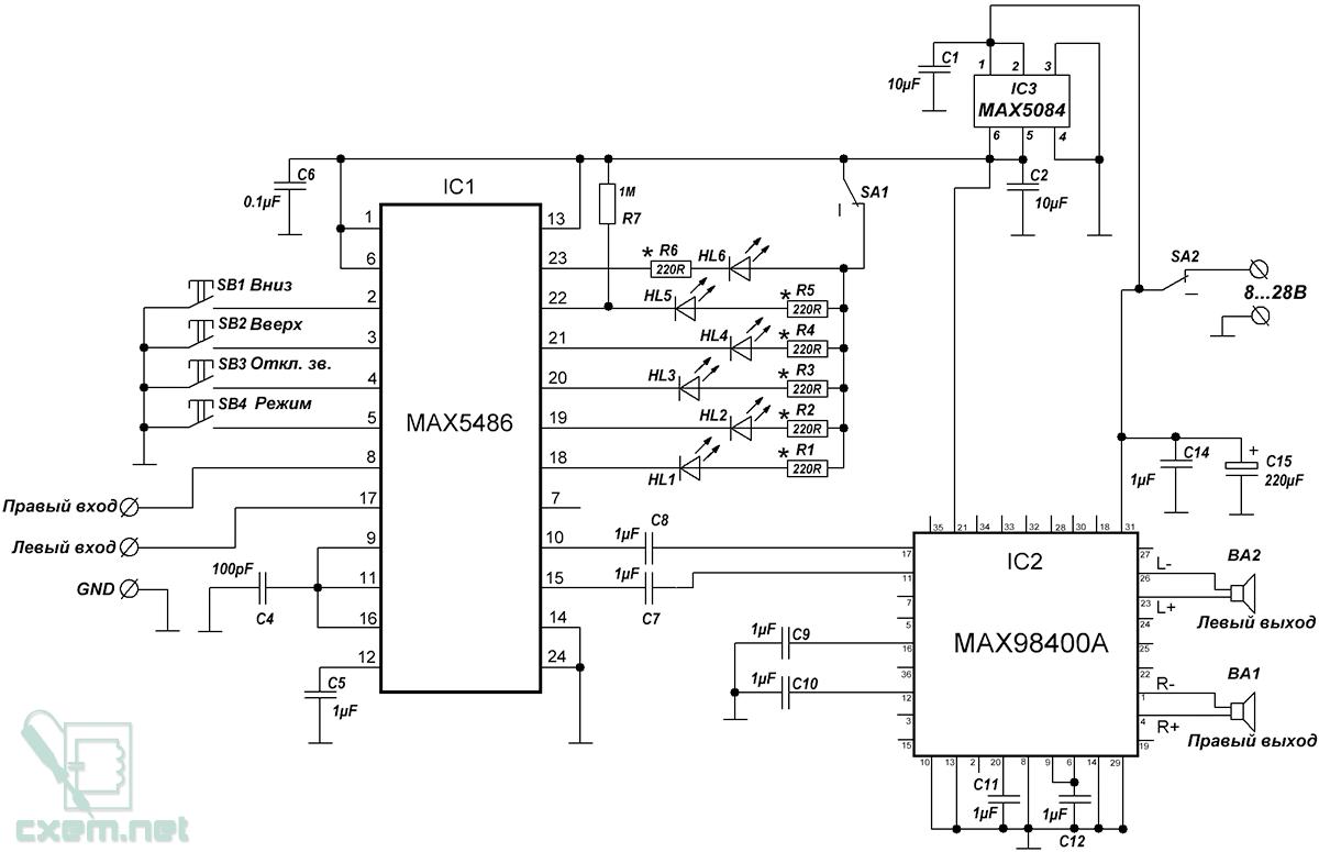 Принципиальная схема содержит три микросхемы: интерфейс кнопочного управление (MAX5486), усилитель звука (MAX98400A)...