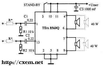 """TDA 8560 Q ( """"PHILIPS """") - более мощный аналог хорошо известной TDA1557Q."""