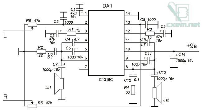 Схема УНЧ на на микросхеме C1316C