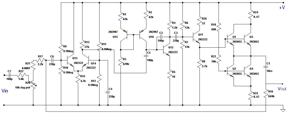 Схема 24 Ватт усилителя класса