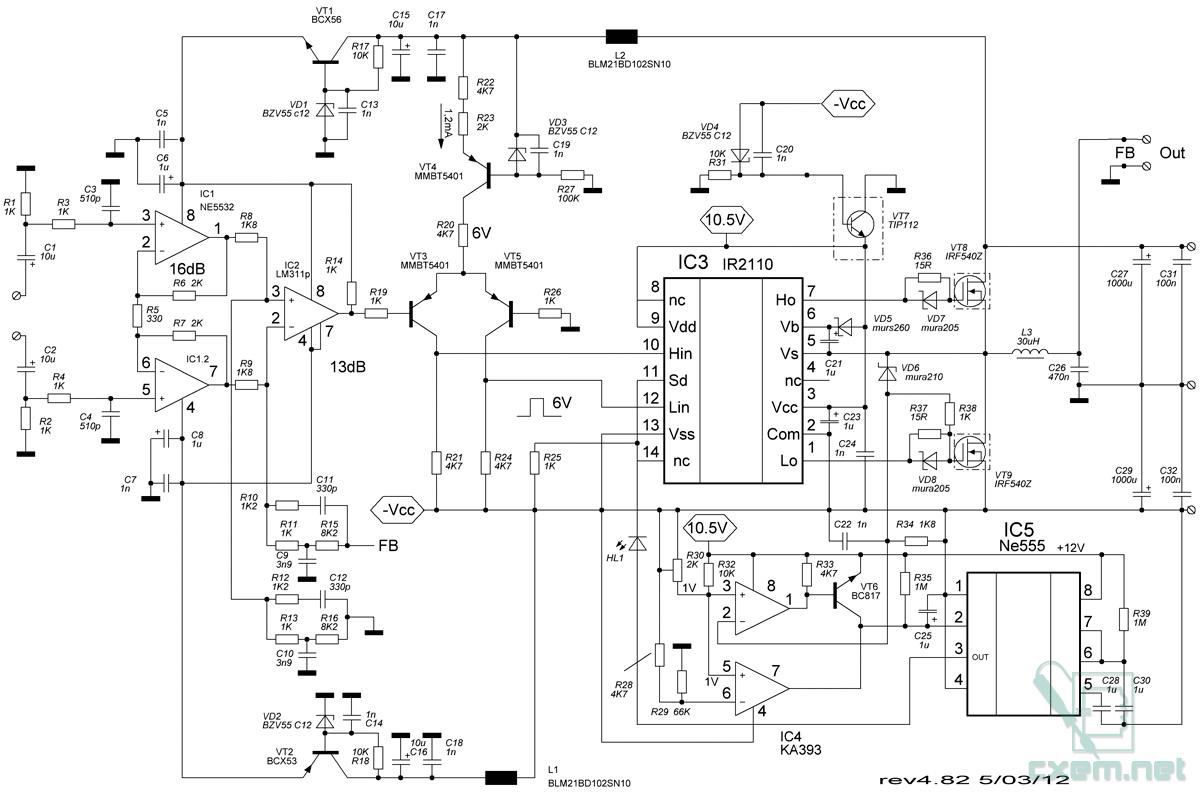 Рис.2. Принципиальная схема УМ класса Д. Так-так драйвер IR2110 IC3 имеет раздельные входы управления верхним и...