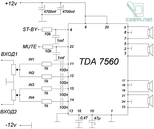 Схема УНЧ на TDA7560