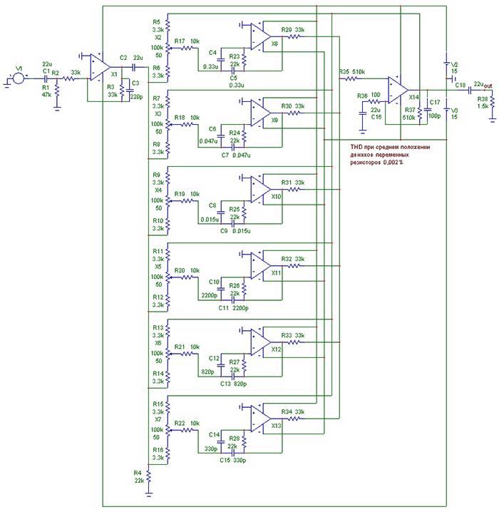 Однако при построении стереофонического эквалайзера желательно чтобы оба канала были идентичны друг другу...