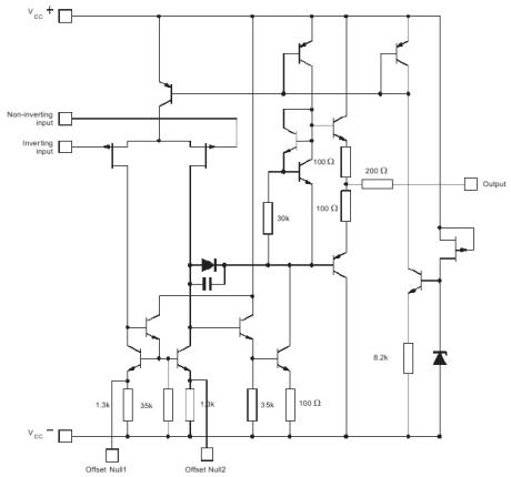 Принципиальная схема ОУ TL071