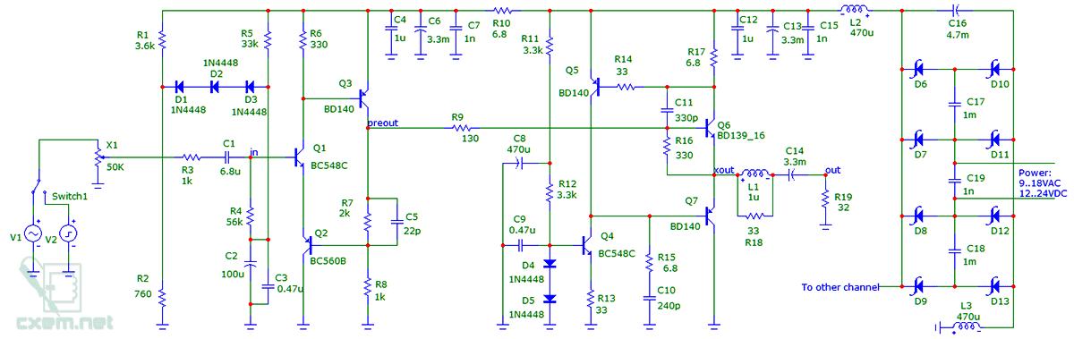 Схема линейного транзисторного