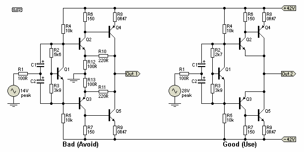 Рис. 15  Выходной каскад с усилением (для сравнения пара Шиклаи)