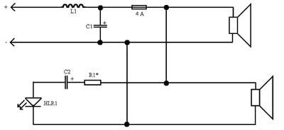 Рис.2 Схема фильтра с индикатором перегрузки