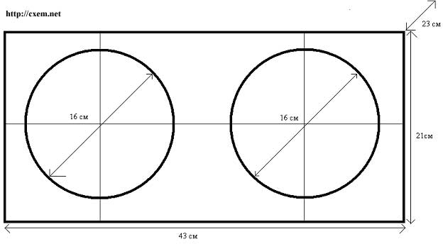 чертежи короба для 2 сабвуфера - Схемы.