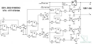 Схема простой гирлянды на К155ЛА3
