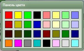 Панель выбора цвета канала